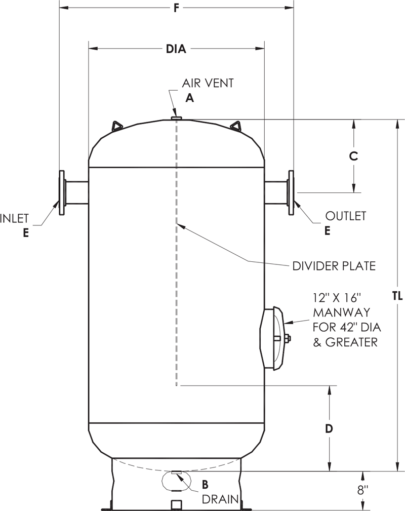 asme chilled water buffer tanks elbi of america rh elbi net water heater schematic drawing electric hot water tank schematic